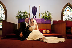 Wedding couple in a church royalty free stock photography