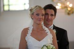 Wedding couple in church Stock Photo