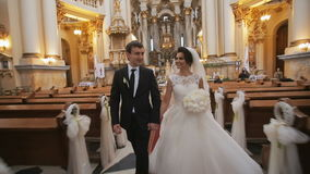 Wedding Couple in Church stock footage