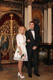Wedding couple in church. In Serbia Royalty Free Stock Photo