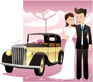 Wedding couple with classic car. A young couple posing with a classic car on their wedding day. E.P.S. 10 vector file included with image,  on white Royalty Free Stock Image