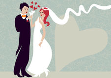 Wedding couple clinking. Wedding illustration of affectionate groom and bride clinking Stock Photography
