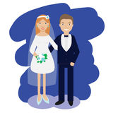 Wedding couple collection. Smiling bride and groom happy pair vector illustration Stock Images