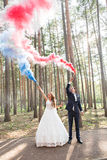 Wedding couple with color smoke in the summer park. Colour bomb Royalty Free Stock Image