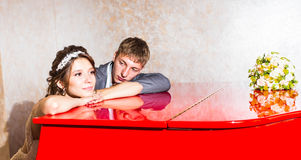 Wedding couple conflict, bad relationships. Bride Royalty Free Stock Images
