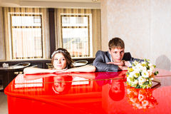 Wedding couple conflict, bad relationships. Bride Royalty Free Stock Image