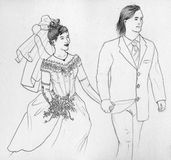 Wedding couple contour. Wedding couple holding hands. Pencil countour drawing Royalty Free Stock Photography