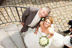 Wedding couple corkscrew stairs Royalty Free Stock Images