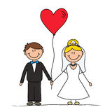 Wedding couple cute drawing Vector Illustration