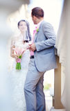 Wedding. Couple on wedding day holding hands Stock Photography