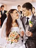 Wedding couple drinking champagne Royalty Free Stock Images