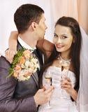 Wedding couple drinking champagne Stock Photo