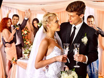 Wedding couple drinking champagne Stock Photo