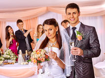 Wedding couple drinking champagne Royalty Free Stock Image