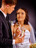 Wedding couple drinking champagne Stock Photography