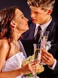 Wedding couple drinking champagne Stock Photos