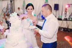 Wedding couple eating cake Stock Image
