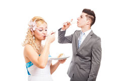 Wedding couple eating and drinking Royalty Free Stock Image