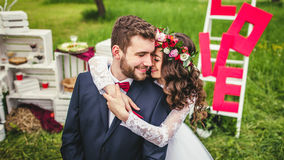 Wedding couple embracing each other royalty free stock photography