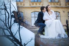 Wedding couple embracing sitting on a park bench Royalty Free Stock Photography