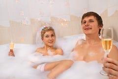 Wedding couple enjoying in bath Stock Image