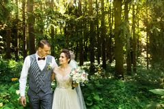 A wedding couple enjoys walking in the woods. Newlyweds hug and hold hands royalty free stock photo