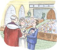 Wedding. Couple is even angry with one another at their wedding Royalty Free Stock Image