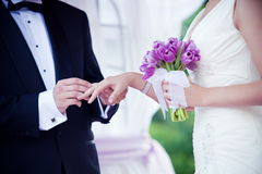 Wedding Couple Exchanging Rings Ceremony Royalty Free Stock Photo