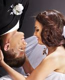 Wedding couple  face to face. Royalty Free Stock Images