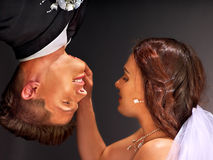 Wedding couple  face to face. Royalty Free Stock Photography