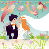 Wedding couple at festive table. Wedding illustration of affectionate groom and bride at the festive table Stock Images