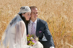Wedding couple in the field of cereal Stock Image