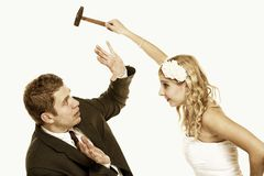 Wedding couple in fight, conflict bad relationships Royalty Free Stock Image
