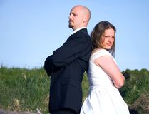 Wedding Couple Fighting Royalty Free Stock Image