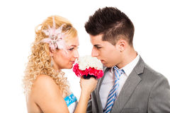 Wedding couple with flower Royalty Free Stock Image