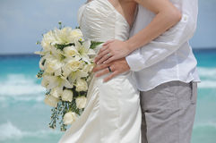 Wedding couple and flowers Royalty Free Stock Photography