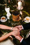Wedding couple at forest cafe, top view stock photos
