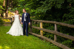 Wedding couple in forest near fence Royalty Free Stock Photos