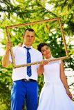 Wedding couple in the frame Stock Image