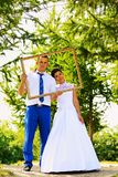 Wedding couple in the frame Stock Photography