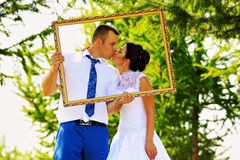 Wedding couple in the frame Royalty Free Stock Photo