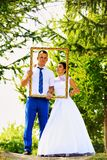 Wedding couple in the frame Royalty Free Stock Images