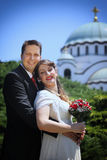Wedding couple in front of the  Temple of Saint Sava Royalty Free Stock Image