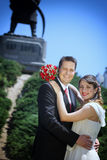 Wedding couple in front of the  Temple of Saint Sava Royalty Free Stock Photo