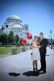 Wedding couple in front of the  Temple of Saint Sava Stock Photo