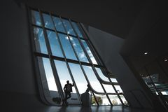Wedding couple in a futuristic building Stock Images