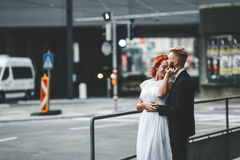 Wedding couple in a futuristic building Stock Photo