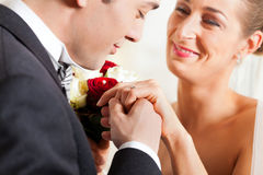 Wedding couple giving promise of marriage royalty free stock photo