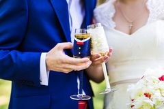 Wedding couple with glasses Royalty Free Stock Photo