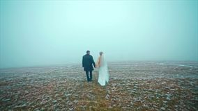 Wedding couple goes winter on Snowed Field Drone stock video
